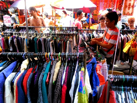 Diiferent Clothes sold in a market in quiapo, manila, philippines in asia