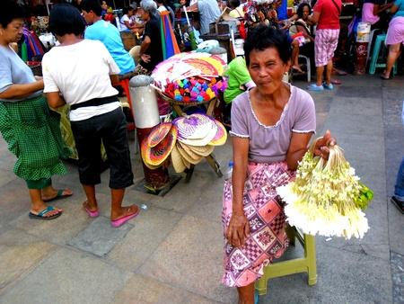 Diiferent flowers sold beside quiapo church in quiapo, manila, philippines in asia