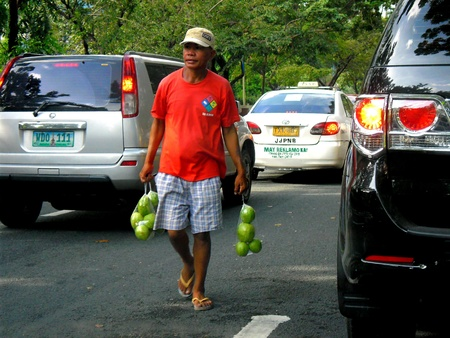 man: Man selling guava fruits in the streets of manila philippines in asia