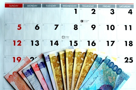 Money on a calendar