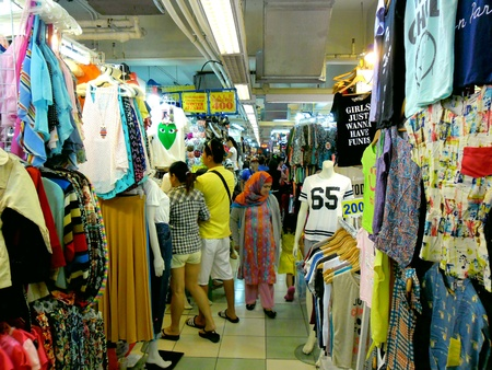 pants: Bazaar Shops in greenhills, san juan city in philippines, asia Stock Photo