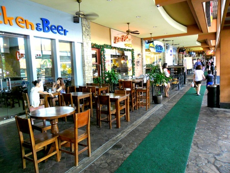 pants: Restaurants at the Promenade in greenhills, san juan city in philippines, asia Stock Photo