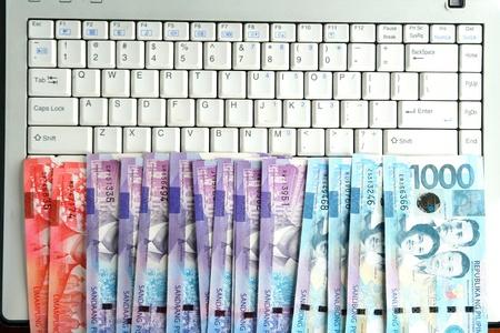 cash money: Dinero en efectivo en un ordenador port�til