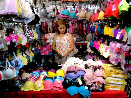 Vendor selling underwear in a market in taytay, rizal, philippines Stock Photo