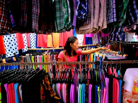 clothes: Vendor selling clothes in a market in taytay, rizal, philippines