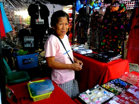 Vendor selling clothes in a market in taytay, rizal, philippines