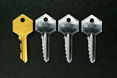 shiny metal: A single Golden key among silver keys Stock Photo
