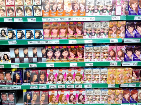 hair dye: Hair dye products sold in a grocery store