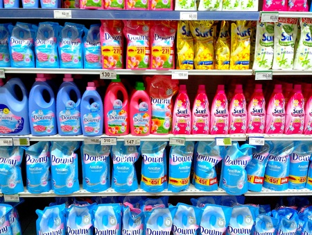 personal shopper: Fabric conditioner products sold in a grocery store Stock Photo