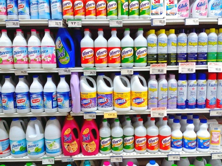 bleaching: Bleaching agent products sold in a grocery store