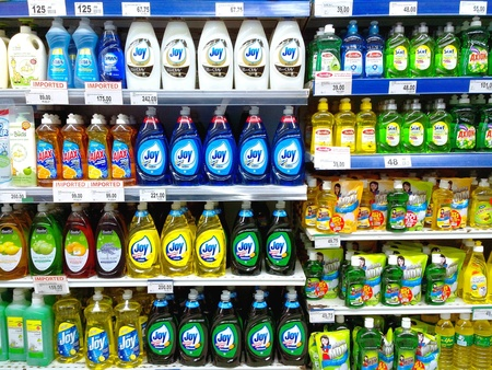 personal shopper: Dishwashing products sold in a grocery store