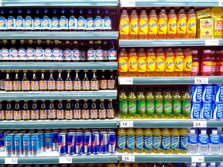 energy drinks: Bottled energy drinks sold in a grocery store Stock Photo