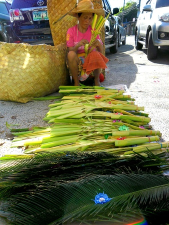 palm sunday: Woman selling palm and coconut leaves on palm sunday outside a church in manila, philippines