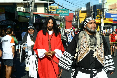 scourging: Cainta, Rizal, Philippines - April 3, 2015 - Actors and Characters in the reenactment of the Passion of Christ. Held on Good Friday as part of celebration of the Holy Week.