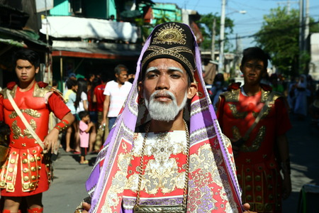 Cainta, Rizal, Philippines - April 3, 2015 - Actors and Characters in the reenactment of the Passion of Christ. Held on Good Friday as part of celebration of the Holy Week.