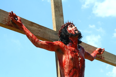 Cainta, Rizal, Philippines - April 3, 2015 - Reenactment of the Passion of Christ. Held on Good Friday as part of celebration of the Holy Week. Editorial