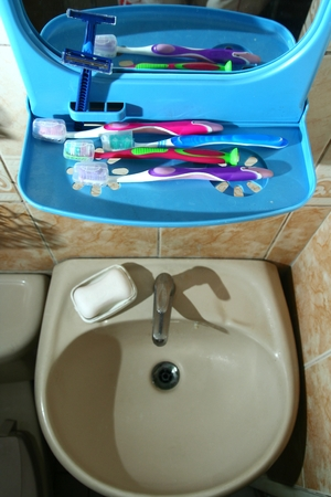 Toothbrushes on a bathroom organizer with a mirror photo