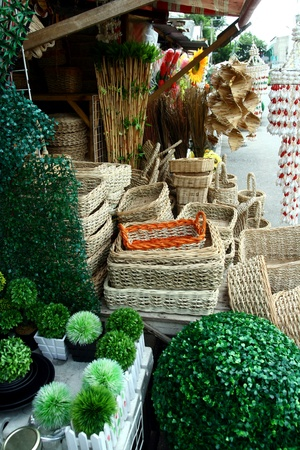 weave: Woven baskets sold at a store in dapitan arcade, manila, philippines