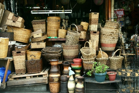 weave: Woven baskets sold at stores in dapitan arcade, manila, philippines Stock Photo