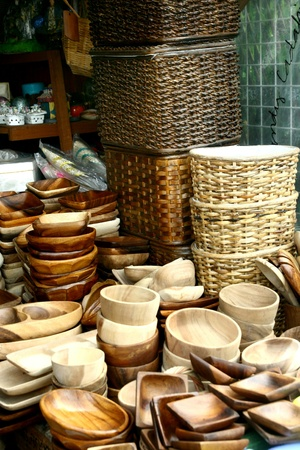 weave: Wooden plates and trays and baskets stores in dapitan arcade, manila, philippines