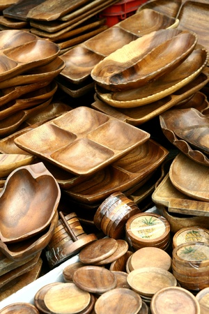 weave: Wooden plates and trays sold at stores in dapitan arcade, manila, philippines