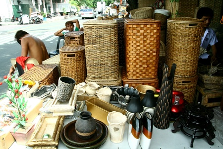 decor: Wooden home decor and baskets sold at stores in dapitan arcade, manila, philippines