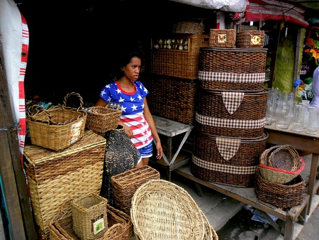 weave: Store selling wooden baskets in dapitan arcade, manila, philippines Stock Photo