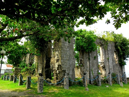 church ruins: Old church ruins by a beach shore in Barcelona Sorsogon in the Bicol region in the Philippines, Asia Stock Photo