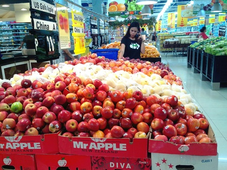 industry: Fruits sold at a grocery store Stock Photo