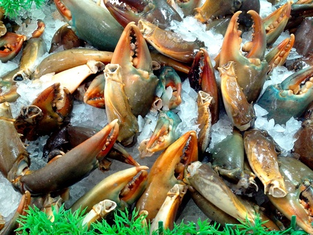 Crab claws or crab pincers sold at a grocery