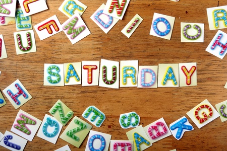 saturday: Random Colorful letters and the word saturday