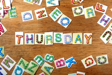 the thursday: Random Colorful letters and the word thursday