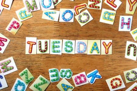 tuesday: Random Colorful letters and the word tuesday Stock Photo