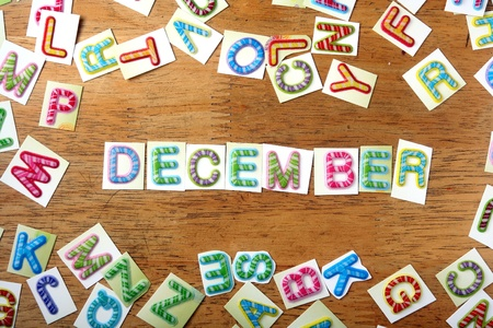 december: Random Colorful letters and the word december Stock Photo
