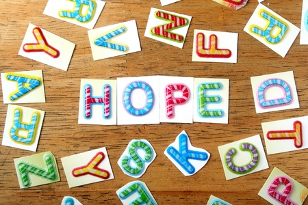 hope: Random Colorful letters and the word hope
