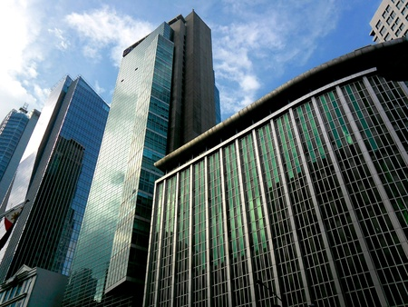 architectural: Buildings in ayala avenue in makati city in the philippines Stock Photo
