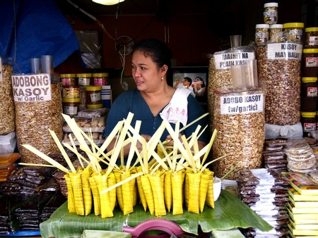 Woman selling native food in antipolo city in the province of rizal in the philippines Stok Fotoğraf