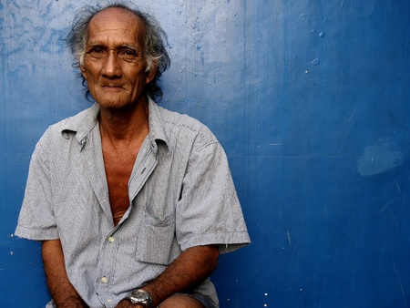 man: Portrait of an old asian man