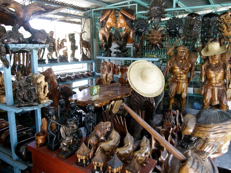 wood carvings: Store selling wood carvings Stock Photo