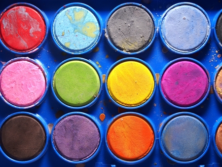 pallette: Pallette of water colors Stock Photo