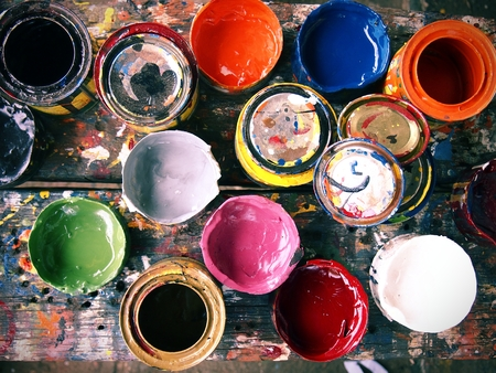 tin cans: Different colored paint tin cans