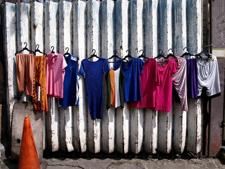 Washed clothes hung to dry