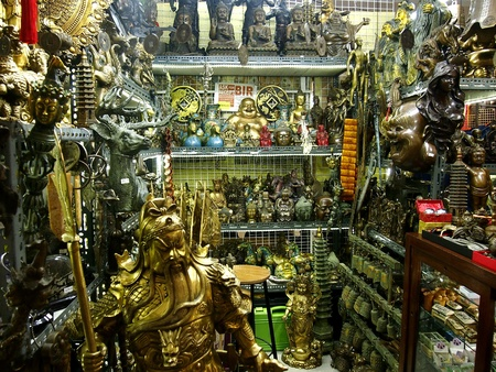 industry: Stalls selling figurines inside the Greenhills Shopping Center in San Juan City, Philippines