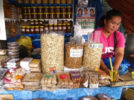 industry: Sweet snacks and desserts sold at a store outside of Antipolo church in the Philippines