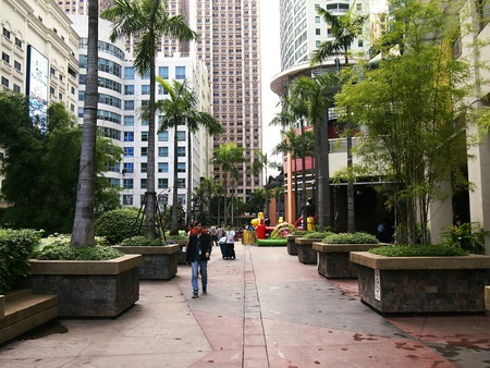 architectural: street  at the Eastwood City in the Philippines