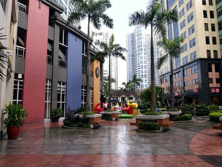 architectural: Bars and restaurants as well as sites and attractions at the Eastwood City in the Philippines