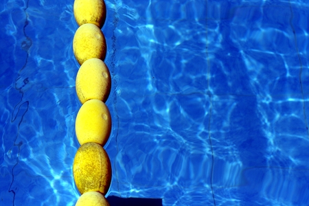 floaters: Photo of floating lane separators in a swimming pool