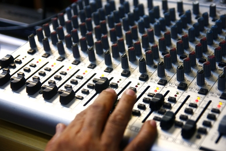 Sound mixer of a recording studio