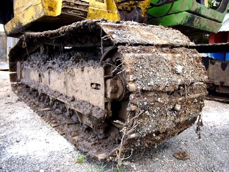 Dirt on an excavators track