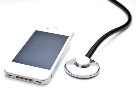 mobile and Stethoscope Stock Photo